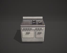 3D asset White Vintage Stove