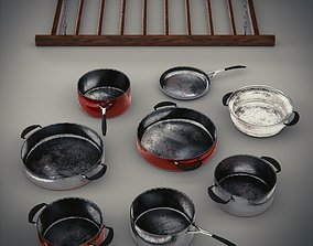 Game Ready Cooking Pot and Pan Set 3D asset realtime