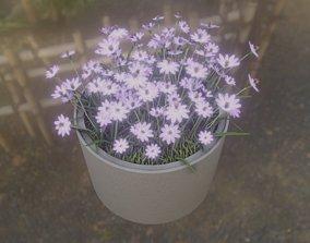 Concrete pot 1000mm Violet Flower 1 3D asset