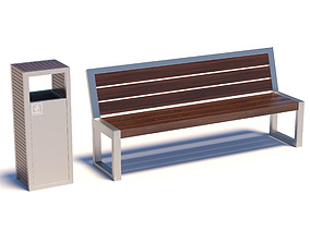 Street bench with trashcan 3D