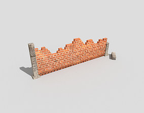 3D model low poly broken wall