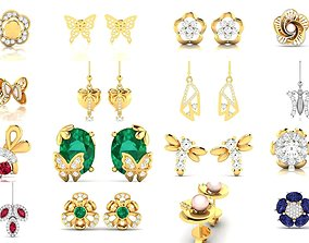 157 NATURE INSPIRED EARRINGS COLLECTION 3D