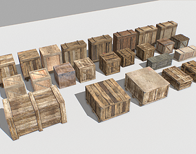Wooden Crates Pack 3D model realtime