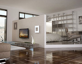 3D printable model living room and bedroom