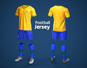 3D model Football Jersey full outfit Brazil Team Sports