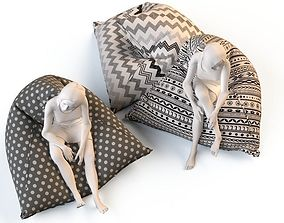Bean bag chair with female mannequins 3D
