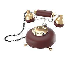 Retro phone in dark red 3D