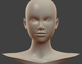 Base Female Head Mesh 3D