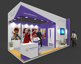 Exhibition stall 3d model 6x3 mtr 2sides open Pharma