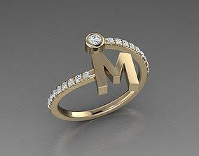 Jewelry Alphabet Diamond Ring M 3D print model
