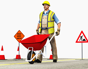 Worker with Wheelbarrow 3D asset low-poly