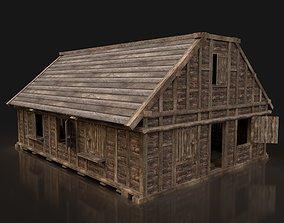 Next Gen AAA FANTASY MEDIEVAL WOODEN TOWN HOUSE 3D asset 1