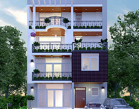 exterior of the lot 3D model animated