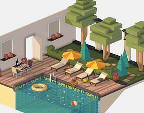 Relax by the pool on the sun loungers 3D asset