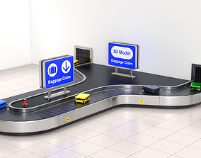 3D model Airport Claim Transporter Y-form with Baggage