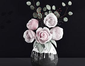 Decorative Bouquet of Peonies in Vase 3D model