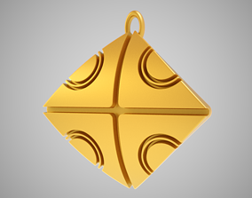 Abstract Square Pendant 3D print model