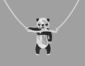 3D printable model pendant panda bear with enamel and gems