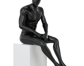Black mannequin sitting on a white stool 68 3D model