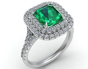 3D printable model Tiffany Emerald Diamond Gold Engagement