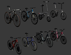 3D model Low Poly bicycle set