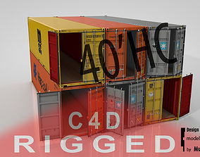 3D Shipping Container 40ft High Cube Rigged