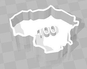 Lietuva 100 map 3D print model