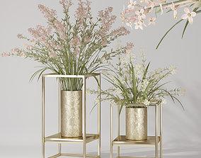 3D model Realistic Lilac Cluster Flower Bouquet Vase Pot 1