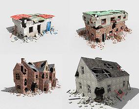 3D asset 4 destroyed buildings pack 2