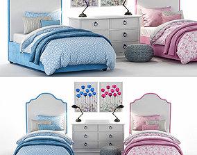 RH Baby Child Francesca Upholstered Bed 3D model 1