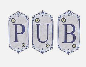 old stone pub sign 3D asset