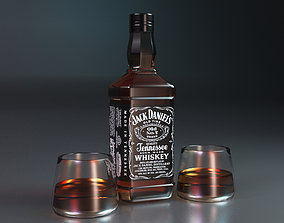3D model Jack Daniels Whiskey and Two Glass