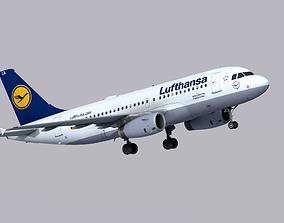 3D asset realtime Airbus A319 Lufthansa