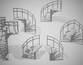Spiral Stairs 3D model game-ready