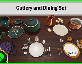 Cutlery and Dining Set 3D asset low-poly