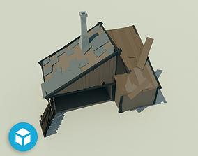 Low poly Carpenter house 3D asset