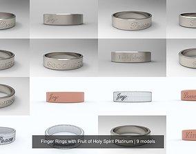 Finger Rings with Fruit of Holy Spirit Platinum 3D