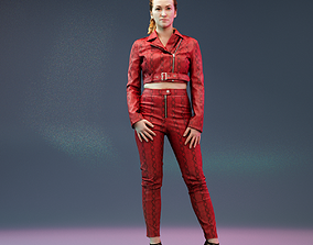 3D model Girl in Red Leather Snake Catsuit Posing