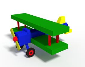 Low Poly Cartoon Biplane Toy 3D model