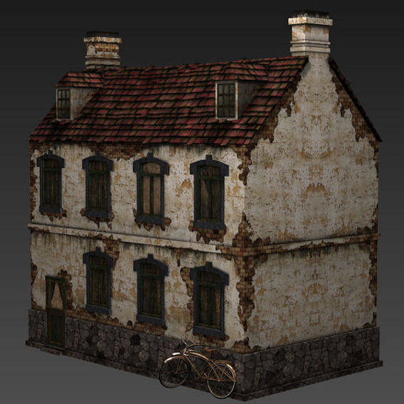 low poly ww2 french house