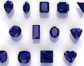game-ready Sapphire Gem Stones pack Low-poly 3D models