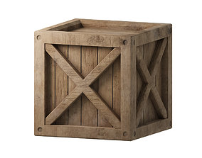 3D asset low-poly PBR Wooden box