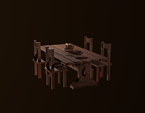 3D asset Medieval table packade lowpoly