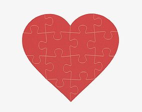 3D model Jigsaw puzzle heart shaped 02