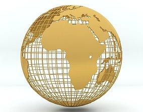 Golden Earth Globe on a golden spherical grid 3D model