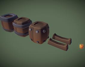 3D model Cube World Wooden Barrels - Proto Series