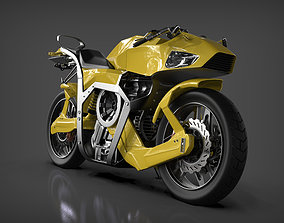 Futuristic motorcycle 3D asset rigged