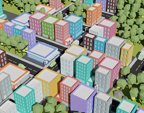 game-ready 15plus Low Poly Toon type City and Vehicles 1