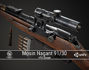 PBR Soviet Mosin Nagant 91-30 Sniper Rifle 3D model