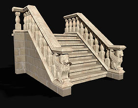 Stairway with winged lions 3D model VR / AR ready